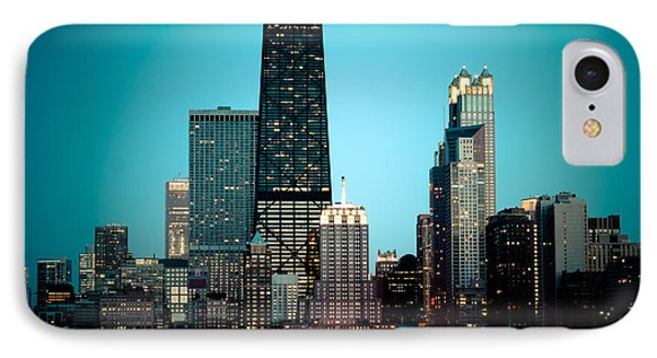 Chicago Downtown At Night With Hancock Building IPhone Case by Paul Velgos