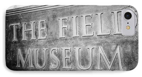 Chicago Field Museum Sign In Black And White Phone Case by Paul Velgos