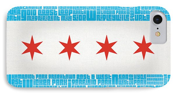 Chicago Flag Neighborhoods Phone Case by Mike Maher