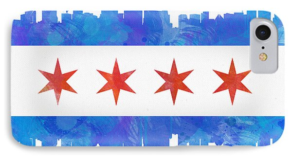 Chicago Flag Watercolor IPhone 7 Case by Mike Maher