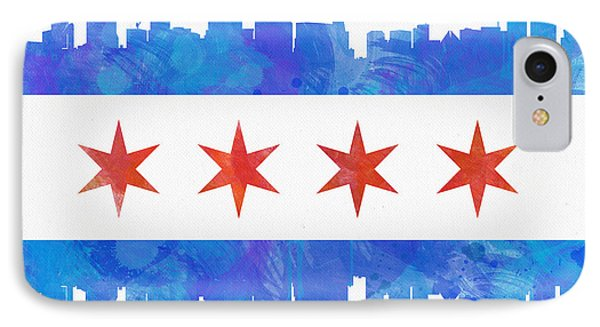 Chicago Flag Watercolor IPhone Case by Mike Maher