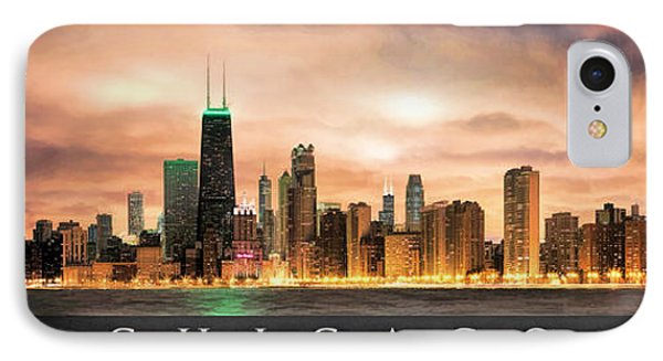 Chicago Gotham City Skyline Panorama Poster IPhone Case by Christopher Arndt
