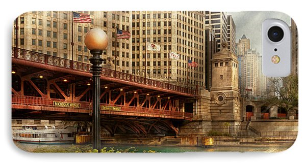 Chicago Il - Dusable Bridge Built In 1920 IPhone Case by Mike Savad