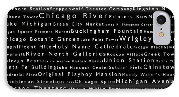 Chicago In Words Black IPhone Case by Sabine Jacobs