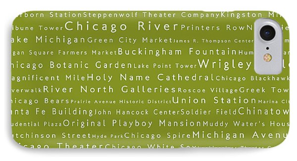 Chicago In Words Olive IPhone Case by Sabine Jacobs
