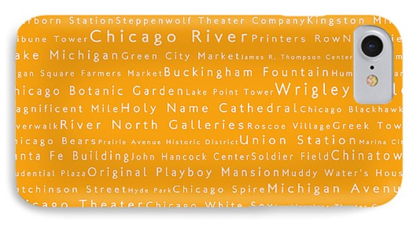 Chicago In Words Orange IPhone Case by Sabine Jacobs