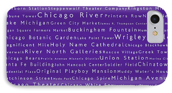 Chicago In Words Purple IPhone Case