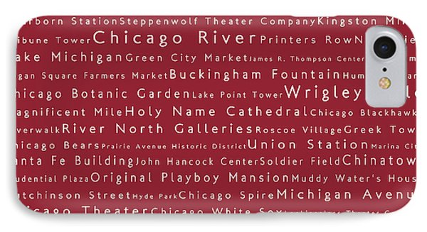 Chicago In Words Red IPhone Case by Sabine Jacobs