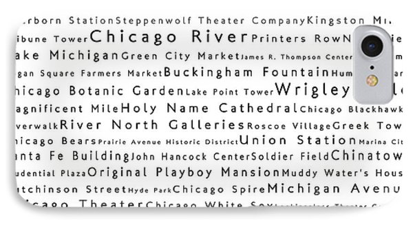 Chicago In Words White IPhone Case by Sabine Jacobs