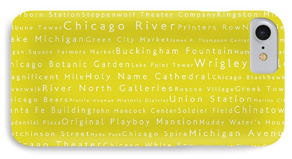 Chicago In Words Yellow IPhone Case by Sabine Jacobs
