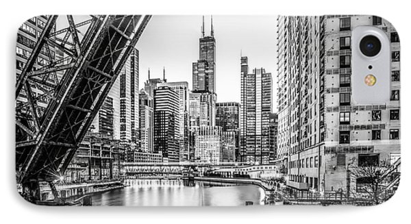 Chicago Kinzie Railroad Bridge Black And White Photo IPhone Case