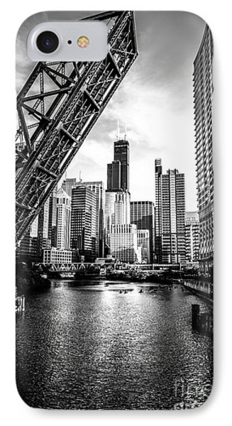 Street iPhone 7 Case - Chicago Kinzie Street Bridge Black And White Picture by Paul Velgos
