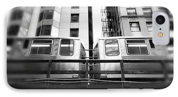 Chicago L Train In Black And White IPhone Case by Paul Velgos