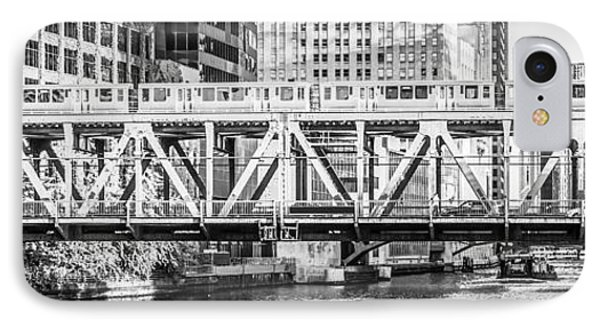 Chicago Lake Street Bridge L Train Black And White Picture IPhone Case by Paul Velgos