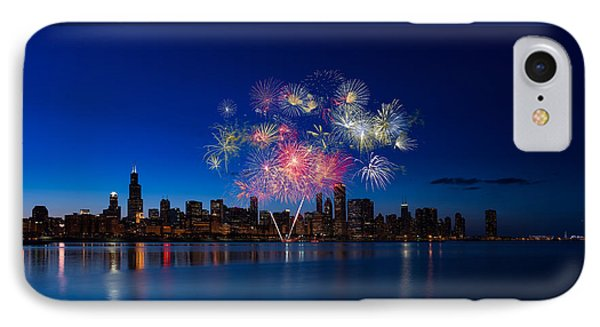 Chicago Lakefront Fireworks IPhone Case by Steve Gadomski