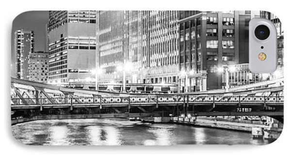 Chicago Lasalle Street Bridge At Night Panorama Photo IPhone Case by Paul Velgos