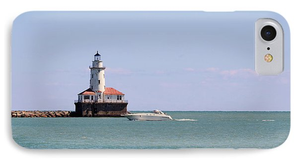 Chicago Light House With Boat In Lake Michigan IPhone Case by Christine Till