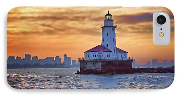 Chicago Lighthouse Impression Phone Case by John Hansen