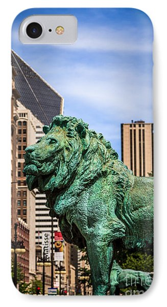 Chicago Lion Statues At The Art Institute Phone Case by Paul Velgos