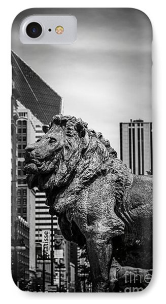 Chicago Lion Statues In Black And White Phone Case by Paul Velgos