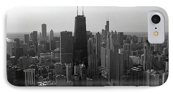 Chicago Looking South 01 Black And White Phone Case by Thomas Woolworth