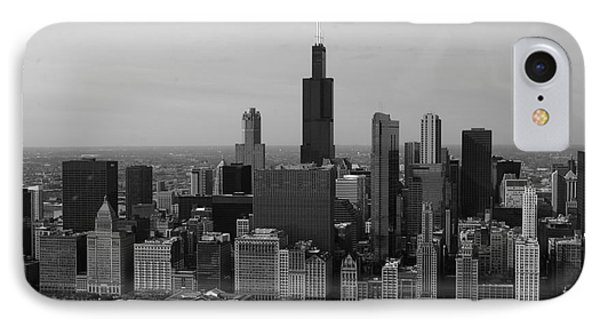 Chicago Looking West 01 Black And White Phone Case by Thomas Woolworth