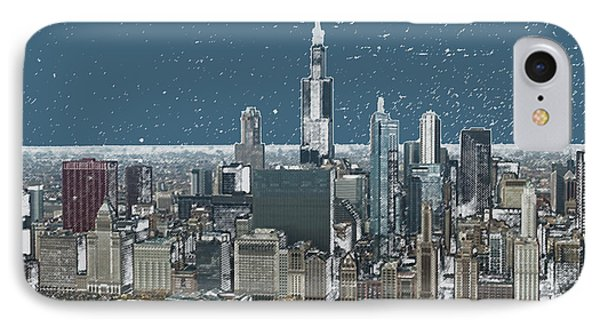 Chicago Looking West In A Snow Storm Digital Art Phone Case by Thomas Woolworth