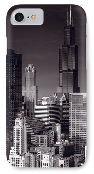 Chicago Loop Towers Bw IPhone Case by Steve Gadomski