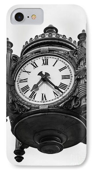 Chicago Macy's Marshall Field's Clock In Black And White IPhone Case