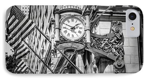 Chicago Marshall Fields Clock In Black And White IPhone Case by Paul Velgos