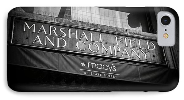 Chicago Marshall Field's Macy's Sign In Black And White IPhone Case by Paul Velgos