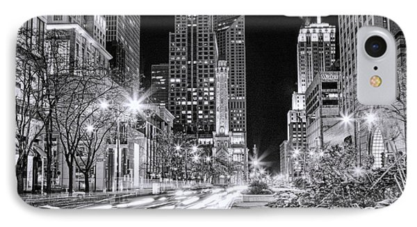 Chicago Michigan Avenue Light Streak Black And White IPhone Case by Christopher Arndt