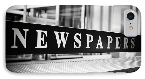 Chicago Newspapers Stand Sign In Black And White Phone Case by Paul Velgos