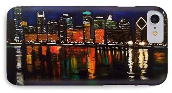 IPhone Case featuring the painting Chicago Night Skyline by Brindha Naveen
