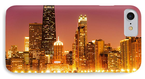 Chicago Night Skyline With John Hancock Building IPhone Case by Paul Velgos