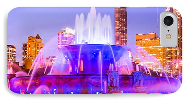 Chicago Panoramic Picture With Buckingham Fountain  IPhone Case by Paul Velgos