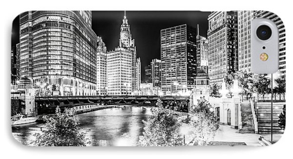 Chicago River Buildings At Night In Black And White IPhone 7 Case by Paul Velgos