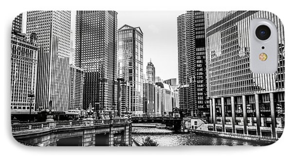 Chicago River Buildings In Black And White Phone Case by Paul Velgos
