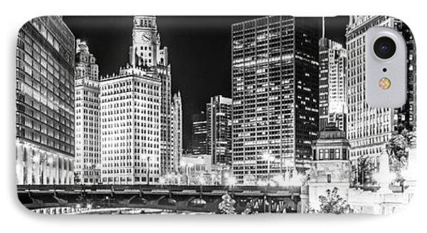 Chicago River Cityscape Panorama Photo With Wabash Bridge  IPhone Case by Paul Velgos