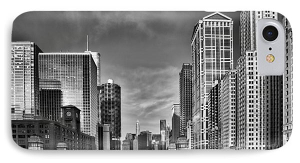 Chicago River In Black And White IPhone Case by Sebastian Musial