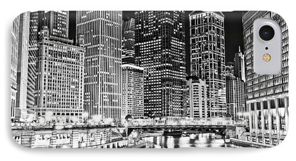 Chicago River Skyline At Night Black And White Picture IPhone Case by Paul Velgos