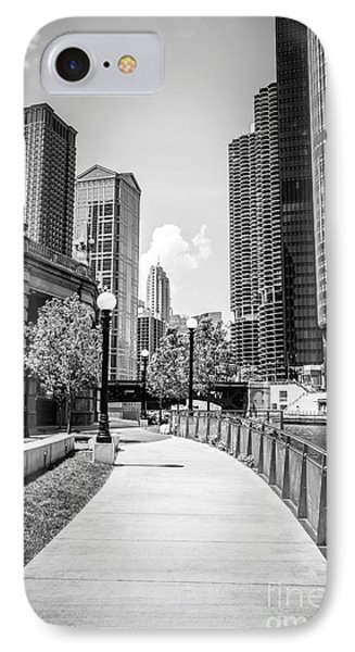 Chicago Riverwalk Black And White Picture Phone Case by Paul Velgos