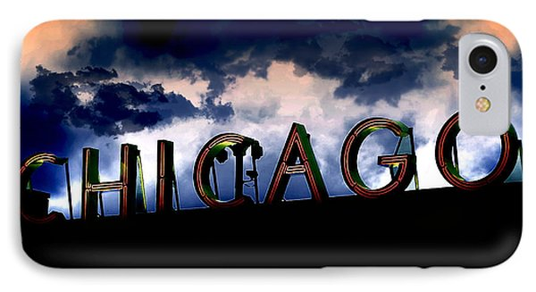 Chicago Sign Sunset Phone Case by Kristie  Bonnewell