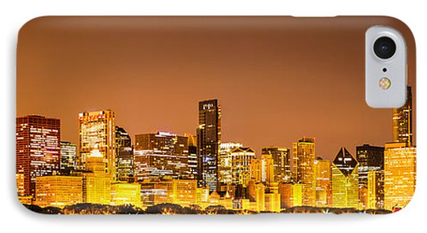 Chicago Skyine At Night Panoramic Photo IPhone Case by Paul Velgos