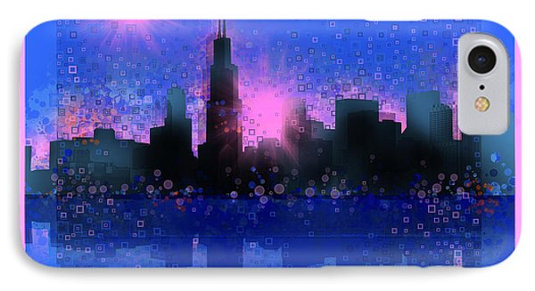 Chicago Skyline Abstract 5 IPhone Case