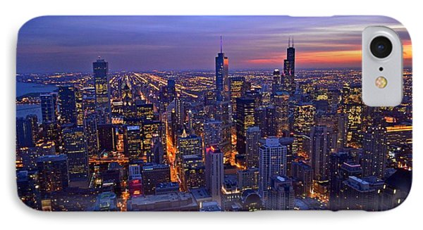 Chicago Skyline At Dusk From John Hancock Signature Lounge IPhone Case by Jeff at JSJ Photography