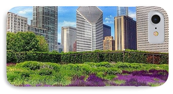 Chicago Skyline At Lurie Garden IPhone Case by Paul Velgos