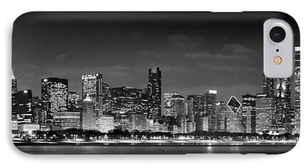 Chicago Skyline At Night Black And White IPhone 7 Case by Jon Holiday
