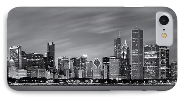 Chicago Skyline At Night Black And White Panoramic IPhone 7 Case