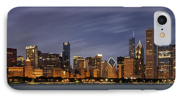 Chicago Skyline At Night Color Panoramic IPhone 7 Case by Adam Romanowicz